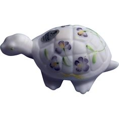 Fenton 3.75 inch long Blue Burmese Turtle with Violets