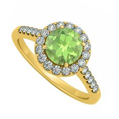 Round Peridot August and Cubic Zirconia April Birthstone Halo Engagement Ring, Women's, Size: 10, yellow