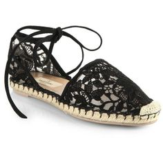 Valentino Heavy Lace Tie-Up Espadrille Flats ($575) found on Polyvore