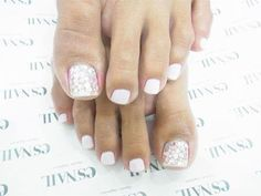Wedding Toe Nail Art Designs & Ideas. Nail polish not just for weddings, but beautiful pedicures for anytime! Sparkly toes!