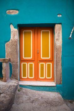 Italian Doors, Orange Door, Blue Orange, Blue Grey, When One Door Closes, Cool Doors, Painted Front Doors, Closed Doors, Doorway