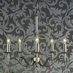 Elegant 5 arm chandelier in a stunning polished nickel finish.  Handmade in England to the highest quality.