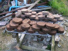 DIY ~ Bio fuel briquettes, compress paper pulp and sawdust into fuel bricks.