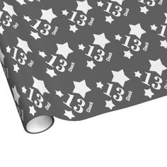 13th Teen Birthday STARS Custom Name V07 GRAY Gift Wrap $17.95. To see more birthday wrapping paper, go to http://www.zazzle.com/jaclinart/products/cg-196333019616737524 #birthday #giftwrap #teen #teenager #gift #present #wrap #party