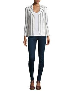 Brightdale Wide-Stripe Wool Blazer & CS Isakal Ribbed Long-Sleeve Top by Theory at Neiman Marcus.