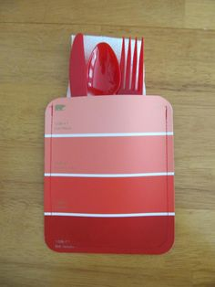 Paint Chip Napkin and Utensil Holder: Sew together some paint chips to make creative utensil holders at your next party.  Source: Sew Many Ways