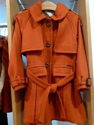 Orange wool trench coat from Burberry for kids