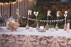 smores tables with gold cut letters    FOR THE SMORES BAR! LETTERS ARE CUTE