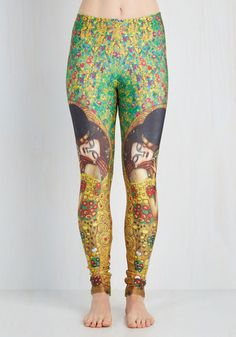 Imaginative Merriment Leggings in Kiss - Novelty Print, Casual, 80s, 90s, Skinny, Mid-Rise, Statement, Satin, Knit, Ankle, Green, Multi, Summer, Fall, Green, Blue