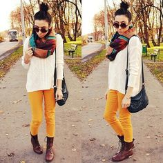 Cream sweater • mustard skinnies • brown lace up boots • scarf • I <3 fall!