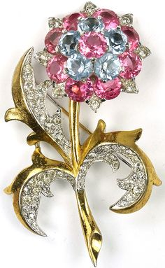 Gold Pave and Pink & Blue Topaz Flower Brooch by MB Boucher.