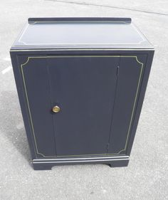 Art Deco Style Walnut Cabinet Refinished In Graphite And Gold Paintwork.