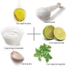 Receita (I) - Molho light d e Iogurte    1 colher (de sopa) de azeite de oliva;  1 colher (de sopa) de vinagre;  1/2 xic. (de cha) de i...