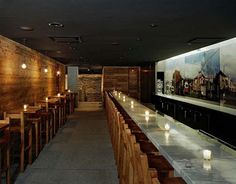 Small Restaurant Design Ideas | Fantastic wood, concrete and twigs restaurant design in New York City