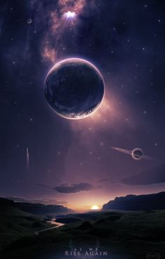 A beautiful fantasy or science fiction landscape, with planets in the sky above.: