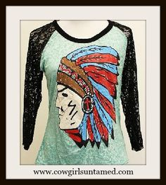AMERICAN COWGIRL TEE Indian Chief on 3/4 Black Lace Sleeve on Aqua Burnout Tee