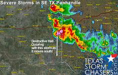 #txwx 2:25 AM: Folks in the eastern row of Texas Panhandle counties are getting rocked by storms this morning. The strongest storm is just northeast of Wellington, moving south just east of Highway 83. This storm is likely producing very large hail and damaging winds. Other strong storms continue to produce hail and gusty winds. We'll continue to monitor. -DR