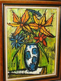 Bouquet. Google Image Result for http://www.galerierienzo.com/bernard_buffet/bouquet_vase_bleu_blanc.jpg