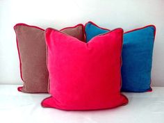 "Terry Coral Pink Throw Pillow with Taupe Piping 20"" by 20"", Pink Cushion, Modern Home Decor"