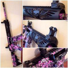 My Muddy Girl Female Punisher custom my husband built for me. Weapons Guns, Guns And Ammo, Ninja Weapons, Camo Guns, Hunting Guns, Hunting Camo, Hunting Stuff, Muddy Girl Camo, Rifle