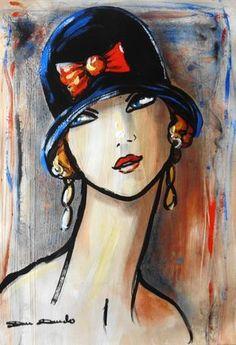 """""""Rêveries..."""" (Peinture), 27x42 cm par Dam Domido portrait expressionniste esprit art déco portrait rétro"""