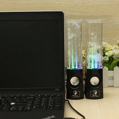 1 Pair USB Bluetooth LED Light Fountain Dancing Water Speakers