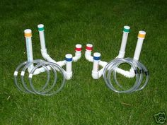 Ring Toss from PVC pipe and clear tubing rings. So cheap and easy to make/ store!