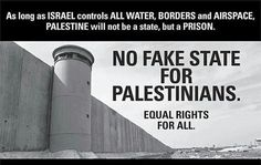No Fake State for Palestinians: Equality For All! BDS Boycott Israel