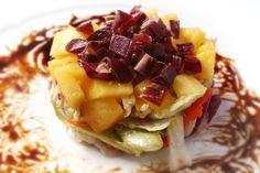 ¡¡Oído cocina!!: Ensalada de jamón y mango con salsa de vino dulce ... Mango, Hummus, Waffles, Good Food, Food Porn, Breakfast, Html, Recipes, Gastronomia