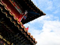 Buddhist temple in Northern China. Love the colors. And love having a blue sky in China!