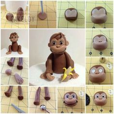 I mostly pinned this because I think it could be easily altered for modeling chocolate or fondant for a curious george b-day cake topper. Curious George Cake Topper, Curious George Cakes, Fondant Toppers, Fondant Cakes, Cupcake Cakes, Fondant Bow, Car Cakes, Marshmallow Fondant, Fondant Flowers