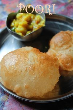 The Perfectly Puffed Poori - Puri Recipe - Deep Fried Indian Bread Indian Bread Recipes, Chapati Recipes, Puri Recipes, Indian Breads, Bangladeshi Food, Vegetarian Recipes, Cooking Recipes, Yummy Recipes, Indian Breakfast