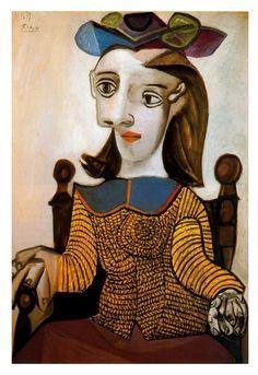 """Pablo Picasso, """"Le chandail jaune (Dora Maar)"""" - The yellow shirt (Dora Maar), 1939. Olio su tela, 81x65 cm. Museum Berggruen, Berlin"""