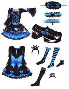 gothic lolitta drawing   Blue Gothic Lolita dress by ~hinode on deviantART   Oh I wish I had these clothes for real!! Those are my two favorite colors!! ESPECIALLY together!!