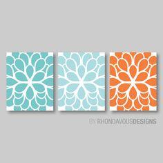Teal Aqua Orange Dahlia Flower Print Trio  by RhondavousDesigns2, $20.00