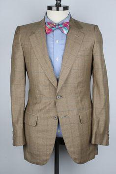 Saint Andrews Tan Brown Plaid Windowpane Rocco Silk Wool 36 R mens Sport Coat #SaintAndrews #TwoButton