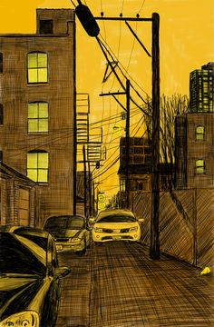 """ALLEY STUDY 32 WITH CARS  11""""X7"""" 