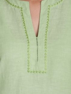 Green Embroidered V Neck Cotton-Linen Kurta