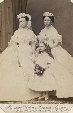 Princess Christian of Schleswig-Holstein (1846-1923), when Princess Helena; Princess Louise, Duchess of Argyll (1848-1939), when Princess Louise; and Princess Henry of Battenberg (1857-1944), when Pri