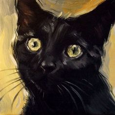 Original oil painting of a black cat by Diane Irvine Armitage. #OilPaintingCat