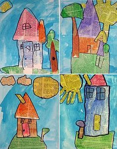 use newspaper, scissors, watercolors to create cityscapes or anything!