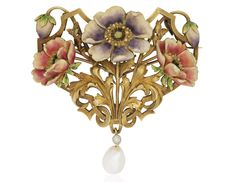 Designed as an enamel and gold openwork floral pendant suspending a bezel-set old-cut diamond and cultured freshwater pearl, suspended from a detachable gold link chain with two additional enamel and gold floral motifsMetal: 18k yellow PLISSON ET HARTZ ART NOUVEAU ENAMEL AND GOLD FLOWER PENDANT BROOCH NECKLACE Price Realised: USD 11,250.00USD 14/06/18