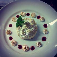 Baked Alaska (need I say anymore ) #wow #bakedalaska #todiefor #mmm #dessert #foodaddict  #foodie #sweettooth #icecream #meringue #hot/cold