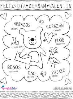 Valentine's Spanish Activities & free Printables For El Día Del Cariño Spanish Worksheets, Spanish Teaching Resources, Spanish Activities, Spanish Language Learning, Spanish Lessons, Spanish Games, Teaching Strategies, Preschool Spanish, Elementary Spanish