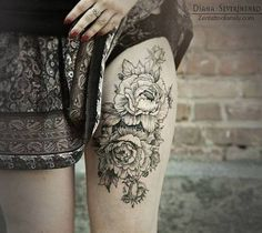 Gorgeous peonies tattoo on thigh for women by severinenko