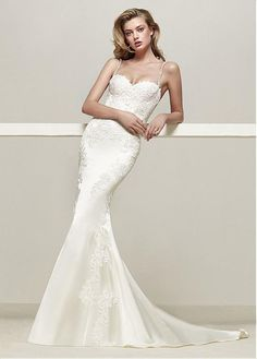 #Dressilyme - #Dressilyme Dressilyme Glamorous Satin Spaghetti Straps Neckline Mermaid Wedding Dresses With Lace Appliques & Beadings - AdoreWe.com