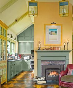 Learning from Experience Farmhouse Remodel Fit for a Family Photos Remodels & Upgrades This Old House This Old House, Kitchen Color Palettes, Kitchen Colors, Yellow Kitchen Cabinets, Yellow Kitchens, Colorful Kitchens, Green Kitchen, Kitchen Sink, Kitchen Dining