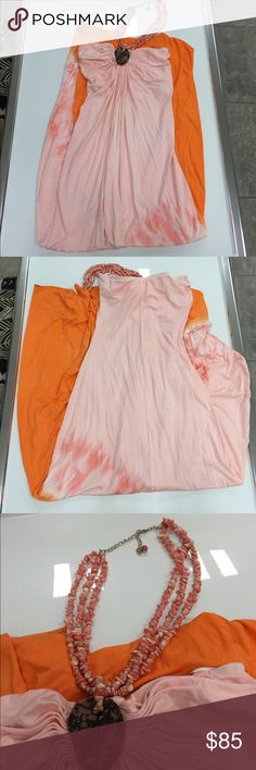 Sky pink orange tie dye stone maxi dress size xs Sky pink orange tie dye stone maxi summer dress size xs new without tags ...please note this dress was handled in store And tried on the bottom hem is dirty And will need to be cleaned ,, Sky Dresses Maxi