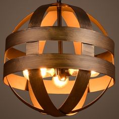 Brushed Bronze 3 Light Pendant in Globe Shape