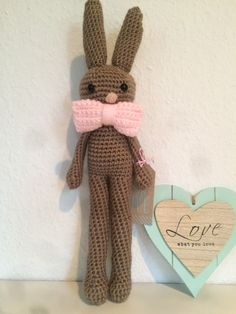 Gehäkelter Hase als Kuscheltier, aus veganer Wolle / crocheted bunny made of vegan yarn, gift idea made by Bunny Love via DaWanda.com